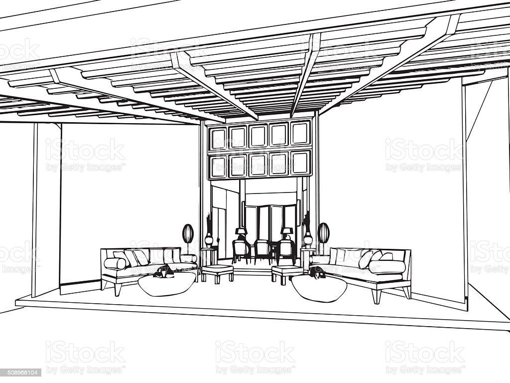 Zarys Rysunek Szkic Wnętrza Widzenia Dom Stockowe Grafiki