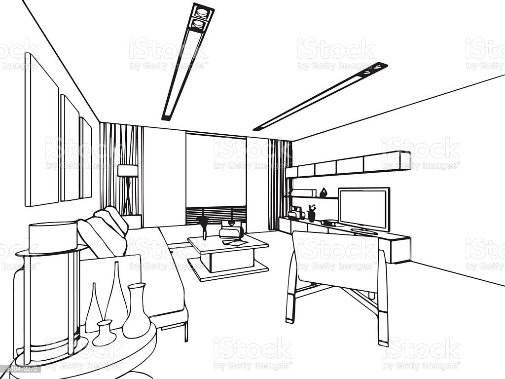 Outline sketch drawing interior perspective of house stock for Cama para colorear