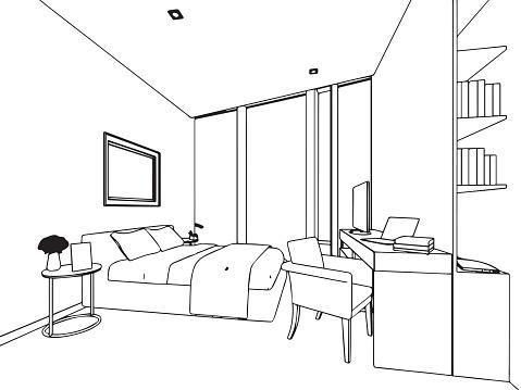 Sagoma schizzo disegno interno di vista di casa immagini for Disegno interno casa