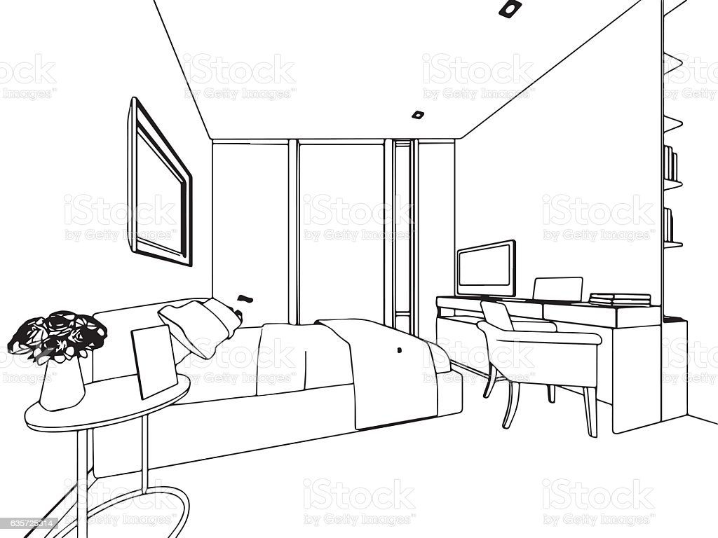 Outline sketch drawing interior perspective of house stock vector outline sketch drawing interior perspective of house royalty free outline sketch drawing interior perspective of malvernweather Image collections