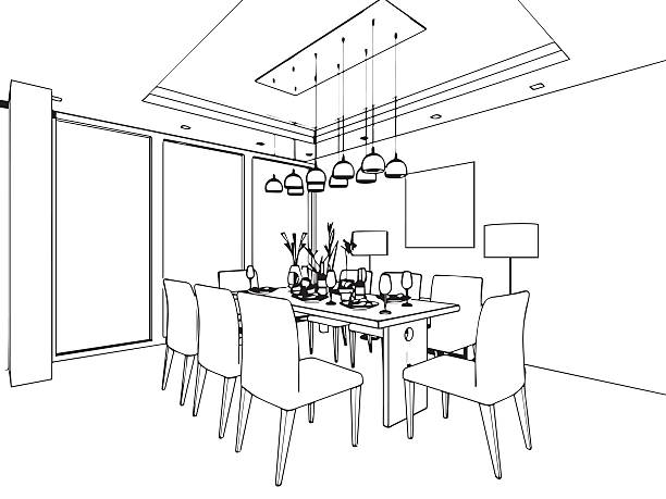 Interior Design Line Art Vector : Royalty free dining room clip art vector images