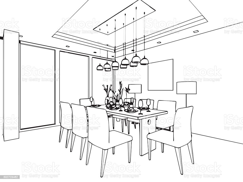 Perfect Outline Sketch Of A Interior Vector Art Illustration