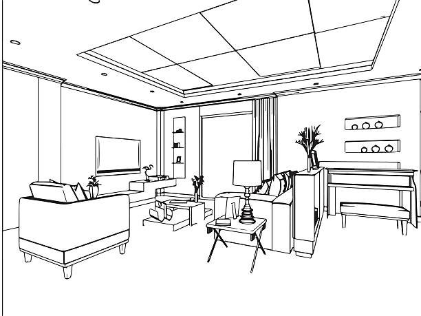 Best Black And White Living Room Illustrations, Royalty ...