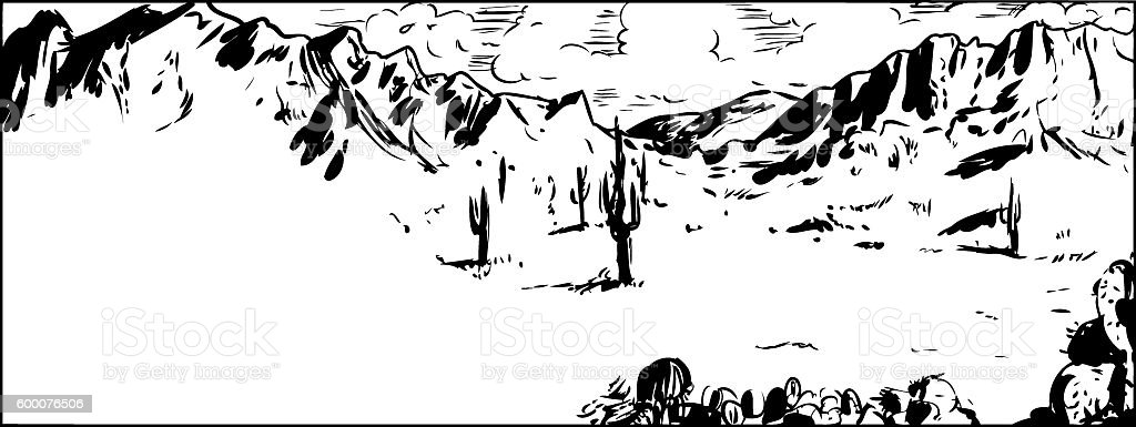 Outline Sketch of Arizona Desert with Cactus vector art illustration