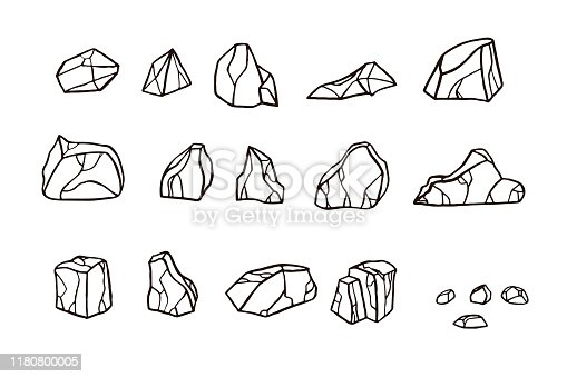Outline sketch stone set. Vector illustration. Different rock blocks.