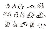 Outline sketch stone set. Vector illustration. Different rock blocks.