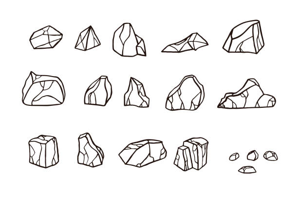 zestaw kamieni szkicu konturu. - minerał stock illustrations