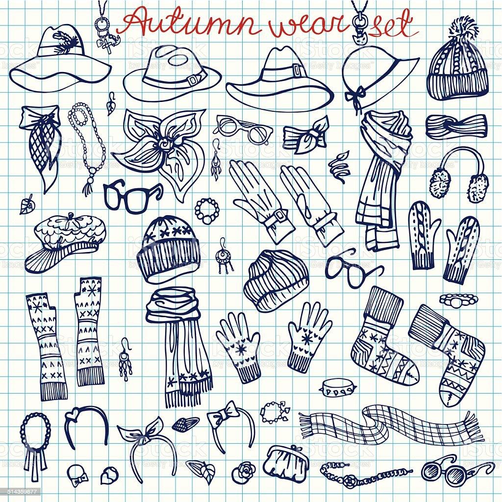 Outline Sketchy notepaper. Female Accessories Set.Autumn,winter vector art illustration