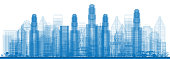 Outline Skyline with City Skyscrapers. Vector illustration.