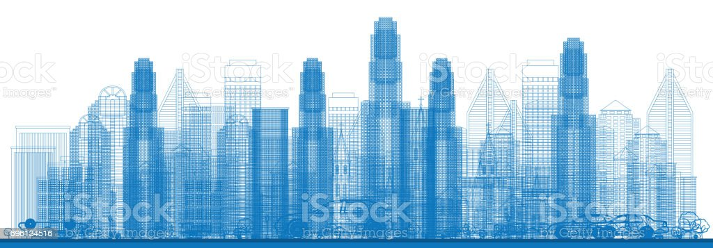 Outline Skyline with City Skyscrapers. vector art illustration
