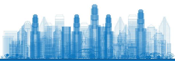 stockillustraties, clipart, cartoons en iconen met overzicht skyline met wolkenkrabbers van de stad. - wolkenkrabber