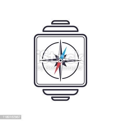 Outline smart watch icon with nautical compas. Electronic screen modern hand gadget device. Vector navigation map symbol