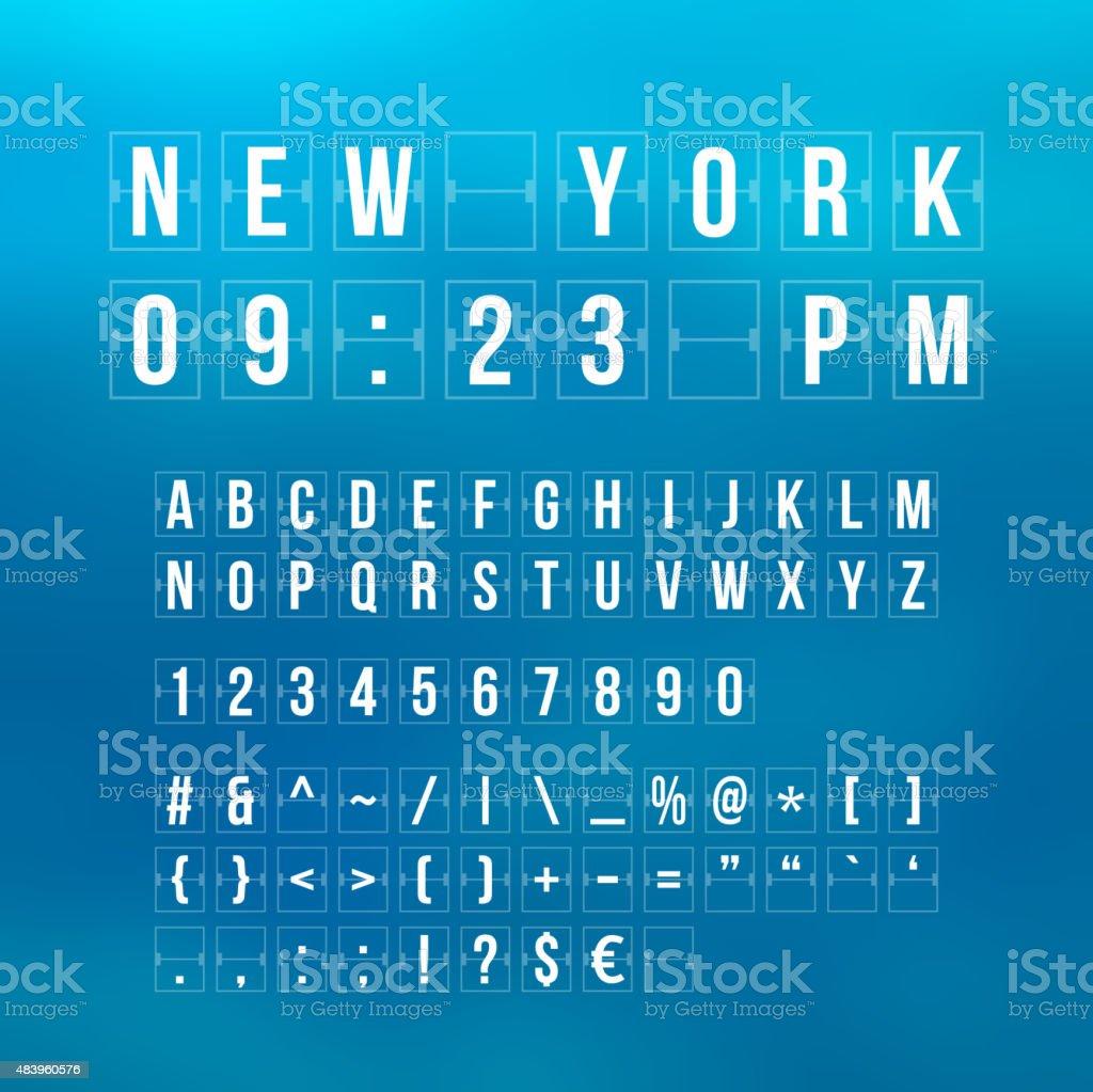 Outline sountdown timer and date, flat calendar scoreboard vector art illustration