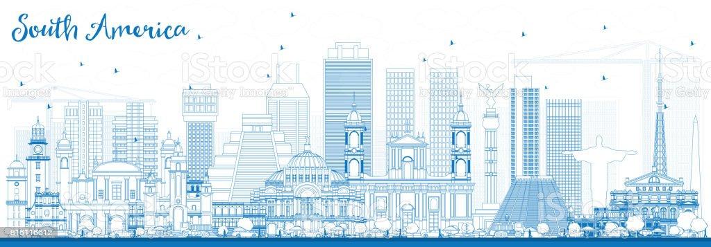 Kontur Sydamerika Skyline Med Berömda Sevärdheter Vektorgrafik Och