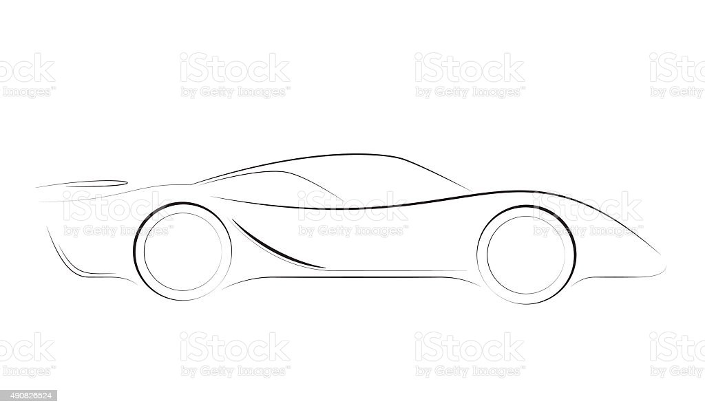 Sports Car Outline Vector