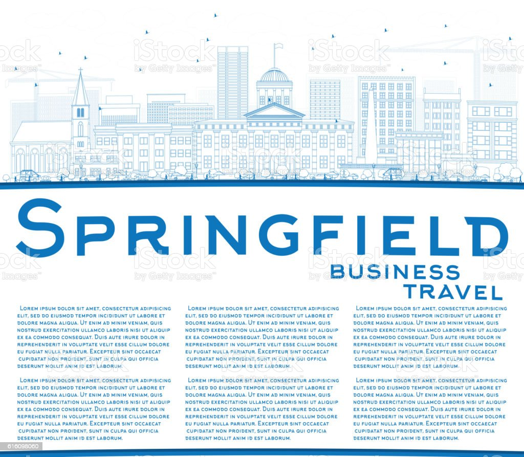 Outline Springfield Skyline with Blue Buildings and Copy Space. vector art illustration