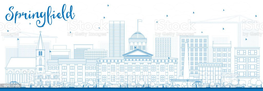 Outline Springfield Skyline with Blue Buildings. vector art illustration