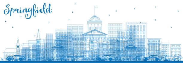 Royalty free springfield il clip art vector images illustrations outline springfield skyline with blue buildings vector art illustration malvernweather Gallery