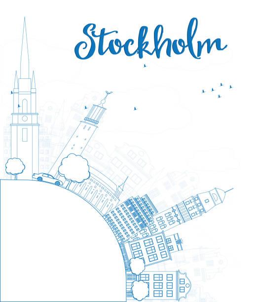 bildbanksillustrationer, clip art samt tecknat material och ikoner med outline stockholm skyline with blue buildings and copy space - skyline stockholm