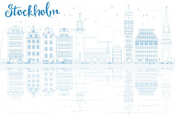 bildbanksillustrationer, clip art samt tecknat material och ikoner med outline stockholm skyline with blue buildings and reflections. - skyline stockholm