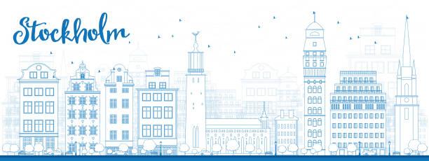 bildbanksillustrationer, clip art samt tecknat material och ikoner med outline stockholm skyline with blue buildings - skyline stockholm