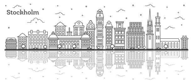 bildbanksillustrationer, clip art samt tecknat material och ikoner med kontur stockholm sverige stadssilhuetten med historiska byggnader och reflektioner isolerade på vitt. - skyline stockholm
