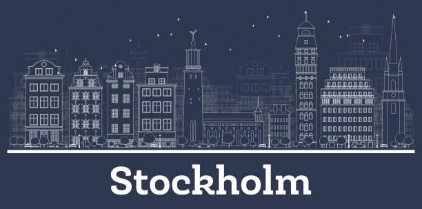 bildbanksillustrationer, clip art samt tecknat material och ikoner med kontur stockholm sverige stadssilhuetten med vita byggnader. - stockholm