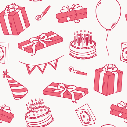Outline Style Birthday Party Seamless Pattern Stock Illustration - Download Image Now