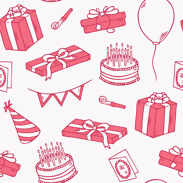 Outline style birthday party seamless pattern Outline style birthday party seamless pattern. Doodle vector illustration with gift, cake and balloon cartoon of birthday cake outline stock illustrations