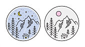 Outline style mountain landscape. Night and day view to the snowy hut on a background of fir trees and mountain peaks.