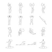 Outline summer people vector illustration. Dancing, surfing, swimming, sunbathing and relaxing man and woman.