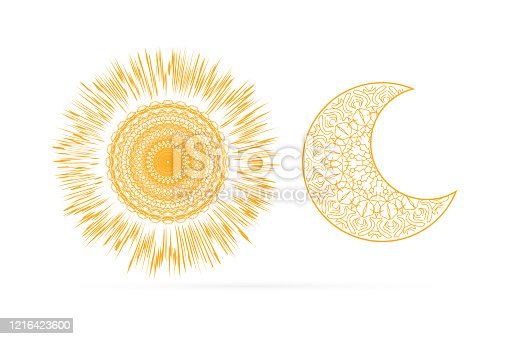 istock Outline sun and moon icon isolated on white. Art line in boho or maori style. Sketch mehendi style. Vector stock illustration 1216423600