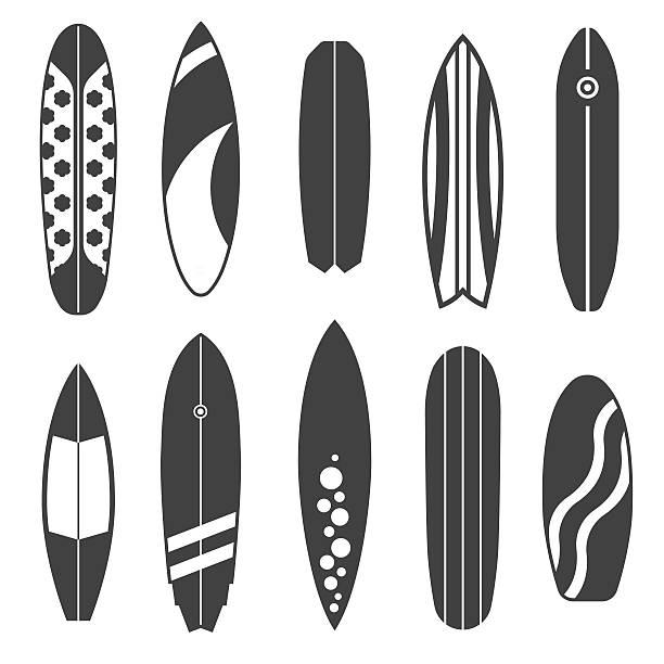 Outline Surfing Board Icons vector art illustration