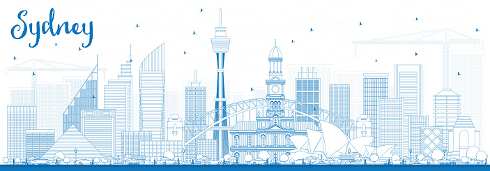 Outline Sydney Australia Skyline with Blue Buildings.
