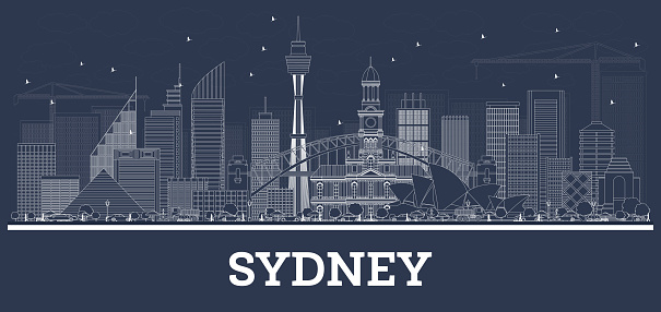Outline Sydney Australia Skyline with White Buildings.