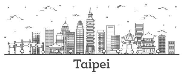 umriss taipei taiwan city skyline mit modernen gebäuden auf weiß isoliert. - insel taiwan stock-grafiken, -clipart, -cartoons und -symbole