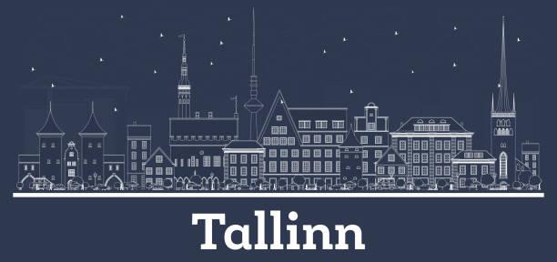 stockillustraties, clipart, cartoons en iconen met overzicht tallinn estland skyline van de stad met witte gebouwen. - estland