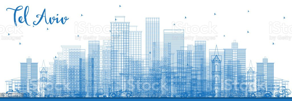 Outline Tel Aviv Israel Skyline with Blue Buildings.