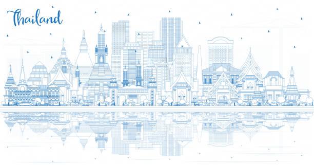 zarys tajlandia city skyline z blue budynków i refleksji. - tajlandia stock illustrations