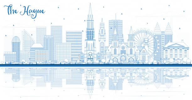 stockillustraties, clipart, cartoons en iconen met overzicht van de skyline van den haag nederland met blauwe gebouwen en reflecties. - den haag