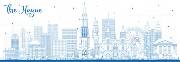 stockillustraties, clipart, cartoons en iconen met overzicht van de skyline van den haag nederland met blauwe gebouwen. - den haag