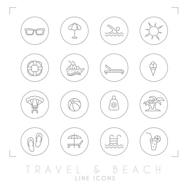 ilustrações de stock, clip art, desenhos animados e ícones de outline thin travel and vacation icons set in circles. sunglasses, umbrella, swim, sun, lifebuoy, ship, desk chair, ice cream, air sports, ball, sun cream, palms, flip flops, pool, bar and cocktail. - parapente