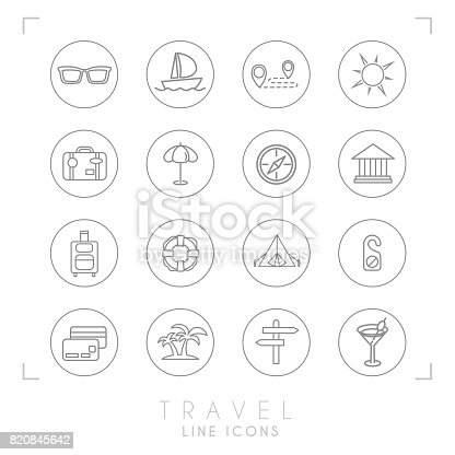 istock Outline thin travel and vacation icons set in circles. Sunglasses, yacht, route, sun, suitcase, umbrella, compass, museum, luggage, lifebuoy, camping tent, do not disturb message, money card, palms, arrows, cocktail. 820845642