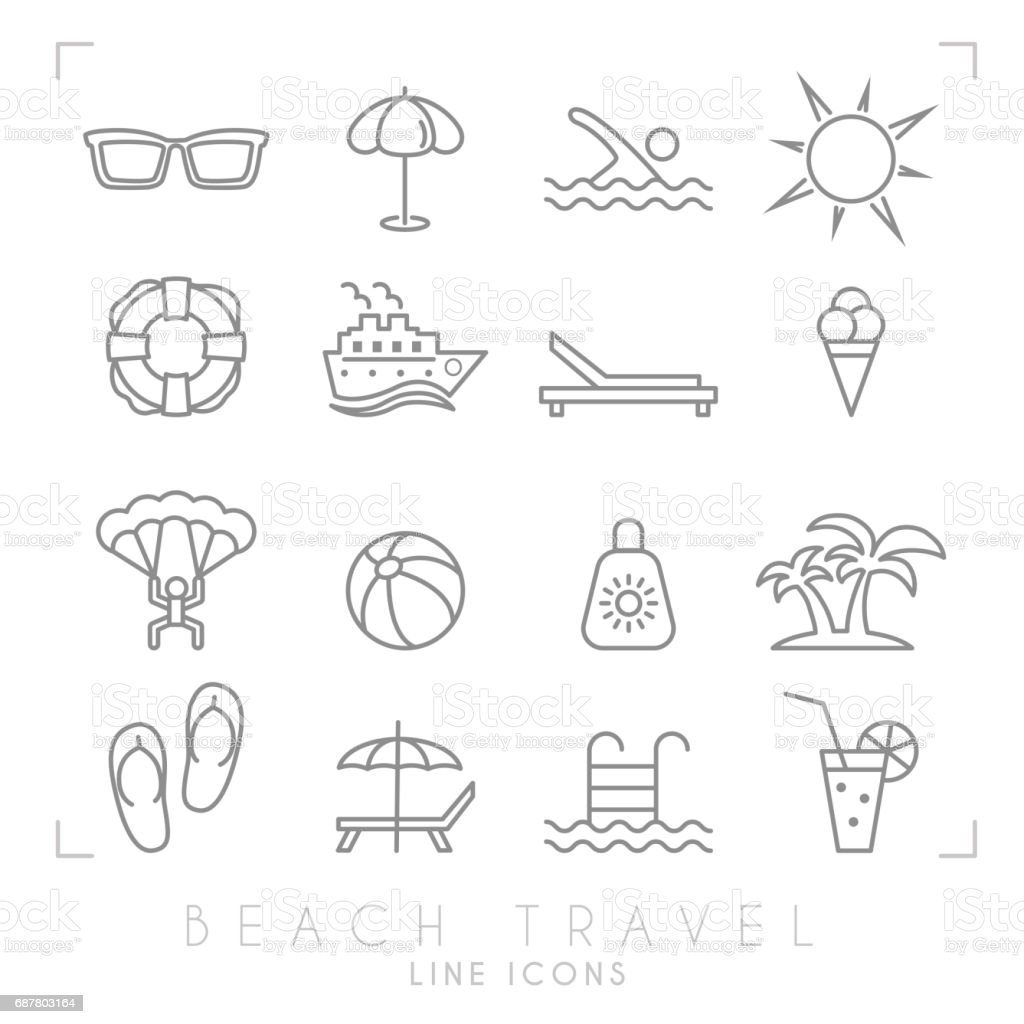 Outline thin travel and vacation icons set. Sunglasses, umbrella, swim, sun, lifebuoy, ship, desk chair, ice cream, air sports, ball, sun cream, palms, flip flops, pool, bar and cocktail. vector art illustration