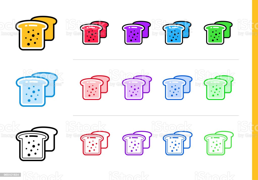 Outline TOAST icon in different colors. Vector elements suitable for website, mobile application and presentation royalty-free outline toast icon in different colors vector elements suitable for website mobile application and presentation stock vector art & more images of bakery