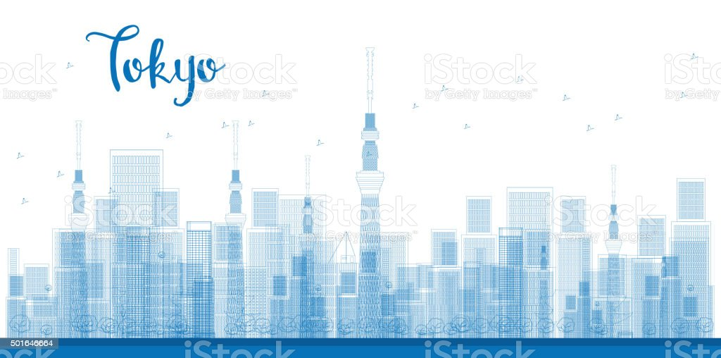 Outline Tokyo City Skyscrapers in blue color. vector art illustration