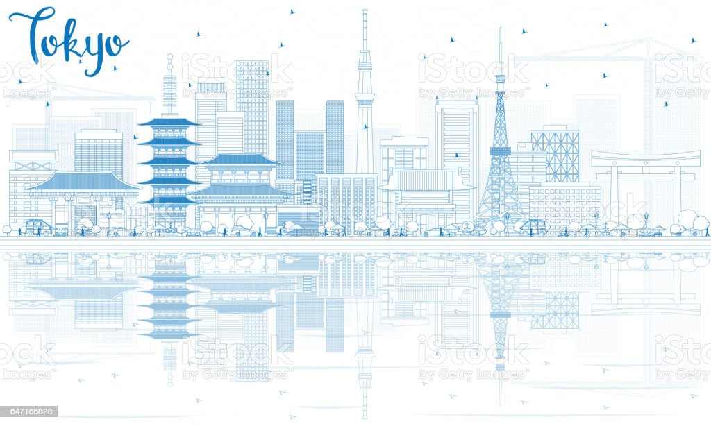 Outline Tokyo Skyline with Blue Buildings and Reflections vector art illustration