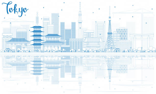 Outline Tokyo Skyline with Blue Buildings and Reflections Outline Tokyo Skyline with Blue Buildings and Reflections. Vector Illustration. Business Travel and Tourism Concept with Modern Architecture. Image for Presentation Banner Placard and Web Site. tokyo stock illustrations