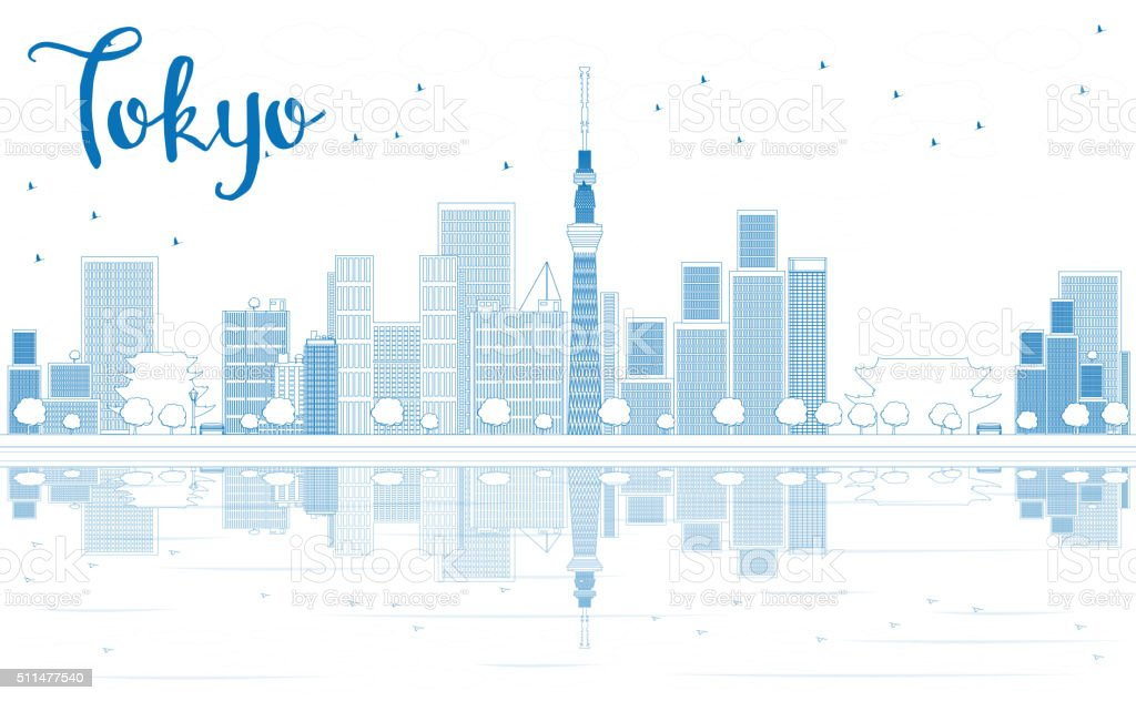 Outline Tokyo skyline with skyscrapers and Reflection. vector art illustration