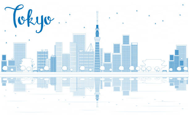 outline tokyo skyline with skyscrapers and reflection. - tokyo stock illustrations, clip art, cartoons, & icons